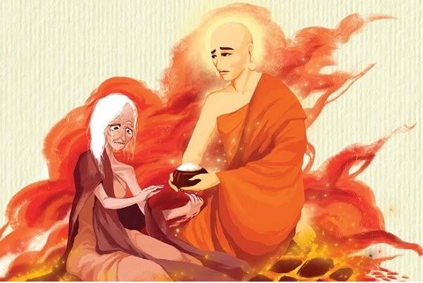 Đức Phật Mục Kiều Liên mang bát cơm cho mẹ xuống cõi ngạ quỷ