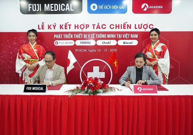 ông lê văn như hải ceo fuji medical vietn nam va ceo akanwa viet nam ký kết với fuji medical việt nam