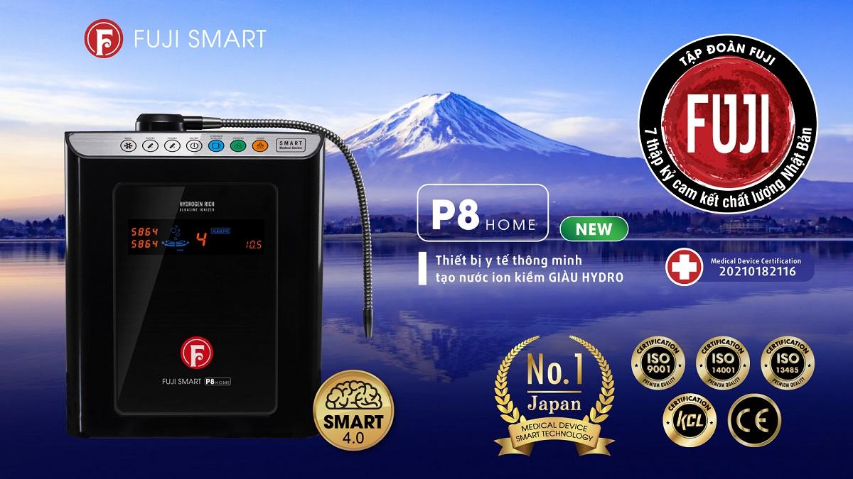 Máy lọc nước ion kiềm Fuji Smart P8 Home đạt nhiều chứng nhận chất lượng