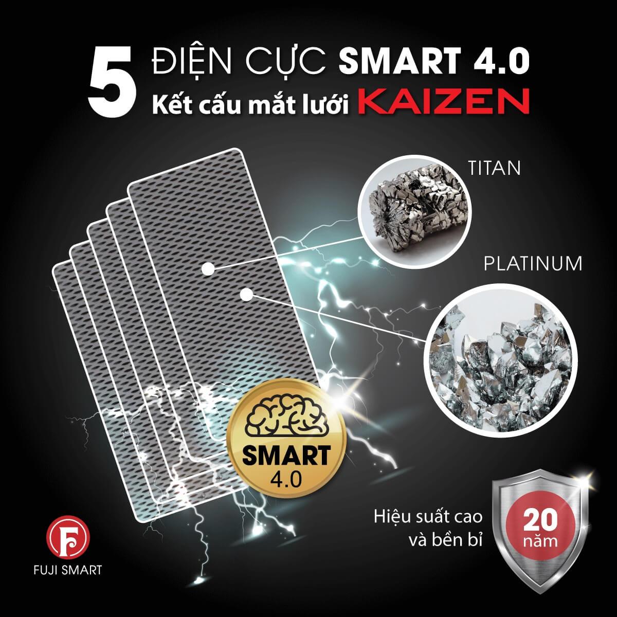 Điện cực máy lọc nước ion kiềm Fuji Smart P8 Home độ bền tới trên 20