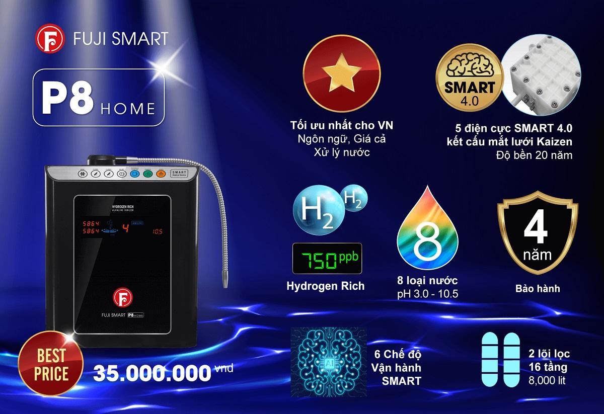 Máy lọc nước ion kiềm Fuji Smart P8 Home có tốt không?